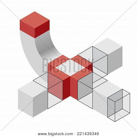 Stylized human figure composed of blocks. Abstract geometric mascot. Vector shape reminiscent of technological development, nanotechnology component. Isometric brand of research center, laboratories.