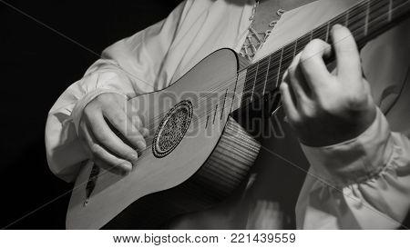 Man Playing Spanish Renaissance Instrument Vihuela De Mano