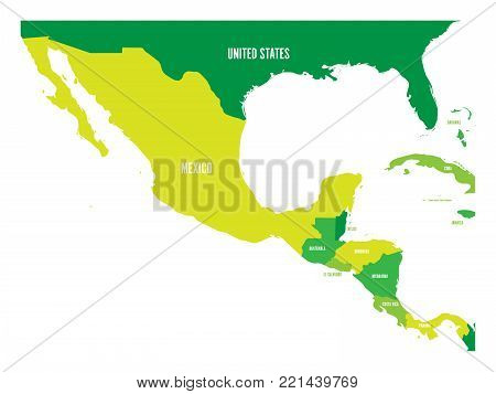 Political map of Central America and Mexico in four shades of green. Simple flat vector illustration.