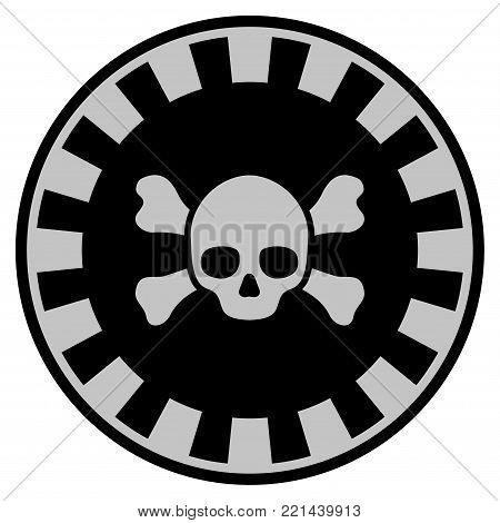Skull Crossbones black casino chip pictograph. Vector style is a flat gamble token item designed with black and light-gray colors.