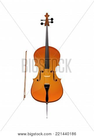 Cello, vector illustration of stringed orchestra music instrument in realistic style isolated on white background.