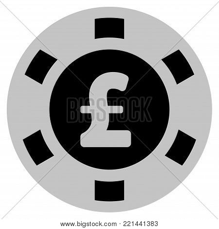 Pound Sterling black casino chip icon. Vector style is a flat gamble token item designed with black and light-gray colors.