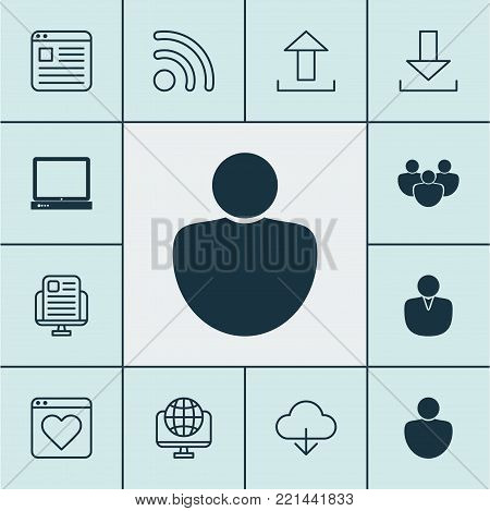 Internet icons set with global, followed, user and other team elements. Isolated  illustration internet icons.