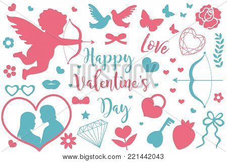 Happy Valentine's Day icon set of stencil silhouettes. Cute romance love collection of design elements with cupid, heart, couple, pigeons, diamond, butterfly, flowers. Vector illustration