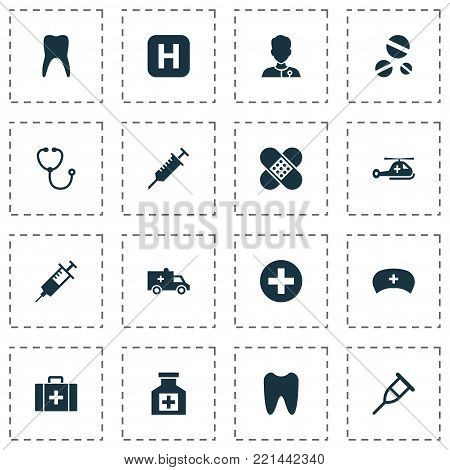 Drug icons set with claw, copter, device and other peck elements. Isolated  illustration drug icons. poster