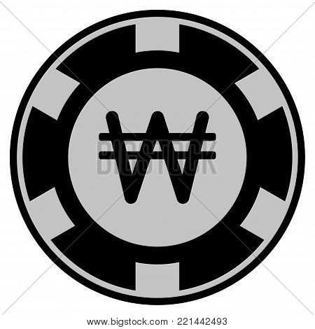 Korean Won black casino chip pictogram. Vector style is a flat gamble token item designed with black and light-gray colors.