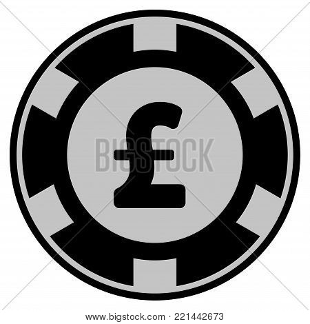 Pound Sterling black casino chip pictograph. Vector style is a flat gambling token symbol designed with black and light-gray colors.