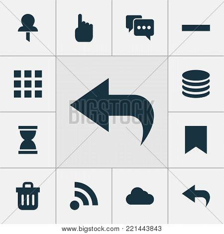 User icons set with application, db, cursor and other mark  elements. Isolated  illustration user icons.
