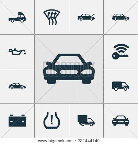 Auto icons set with truck, accumulator, van and other hatchback elements. Isolated  illustration auto icons.