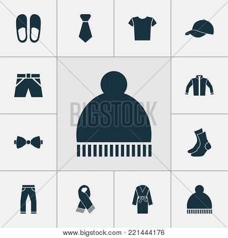 Clothes icons set with home shoes, trunks cloth, cardigan and other trunks cloth elements. Isolated  illustration clothes icons.