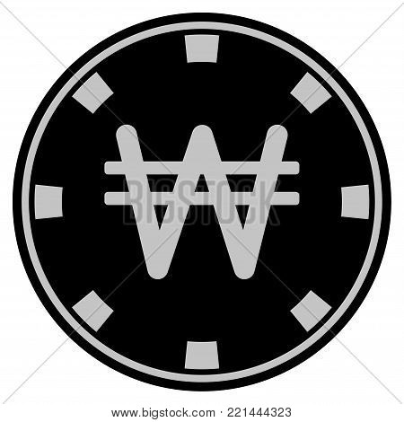Korean Won black casino chip pictograph. Vector style is a flat gambling token item designed with black and light-gray colors.