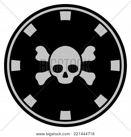 Skull Crossbones black casino chip pictograph. Vector style is a flat gambling token symbol designed with black and light-gray colors.