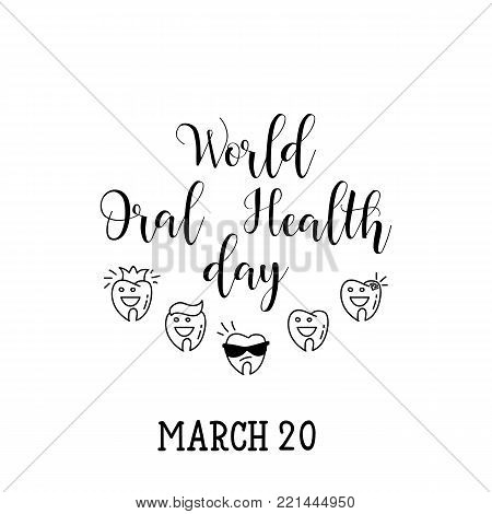 World Oral Health Day. Lettering. Greeting Card.