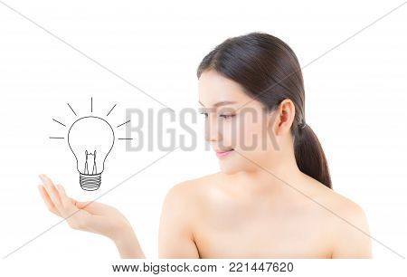 Asian beautiful woman smile hand holding with drawing light bulb for a idea isolated on white background - Solution and inspiration of girl genius for success concept.