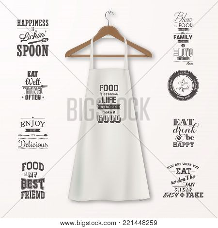 Vector realistic white cotton kitchen apron with clothes wooden hanger and quotes about food set closeup isolated on white. Design template, mock up for branding, graphics, advertising, printing.