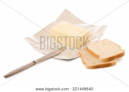Butter knife bread on white background isolation