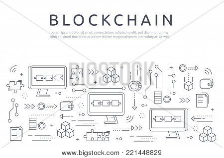 Blockchain technologie process abstract illustration in thin line style. Crypto-currency vector concept. Computers chained to network exchange information.