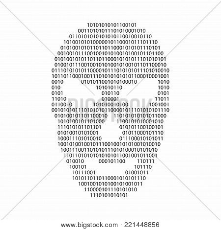 Binary code in hacker face shape. Malware and virus warning concept. Vector