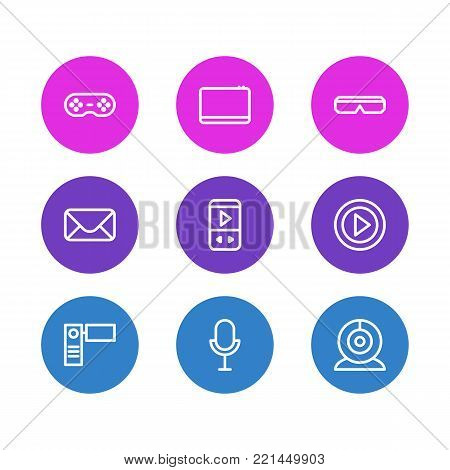 Vector illustration of 9 media icons line style. Editable set of mike, spectacles, mp3 and other elements.