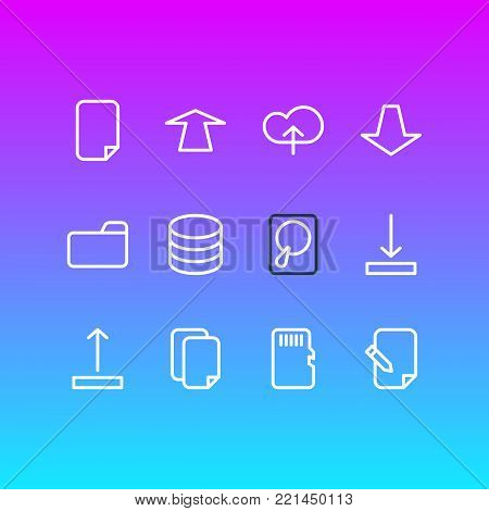 Vector illustration of 12 storage icons line style. Editable set of datacenter, download, dossier and other elements.