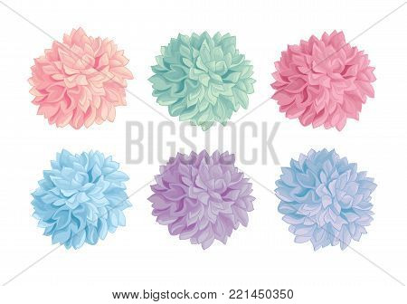 Vector Set of Pastel Colorful Birthday Party Paper Pom Poms. Great for handmade cards, invitations, wallpaper, packaging, nursery designs. Party decor.