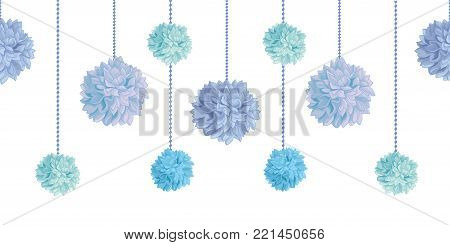 Vector Dangling Blue Bay Boy Birthday Party Paper Pom Poms Set Horizontal Seamless Repeat Border Pattern. Great for handmade cards, invitations. Party decor.
