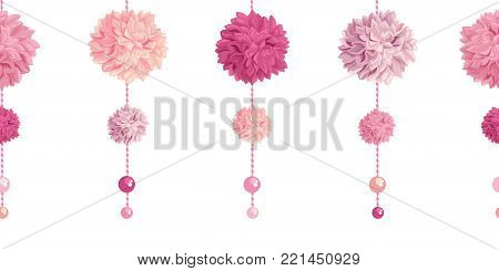 Vector Dangling Pink Birthday Party Paper Pom Poms and Beads Set Horizontal Seamless Repeat Border Pattern. Great for handmade cards, invitations, wallpaper, packaging, nursery designs. Party decor.