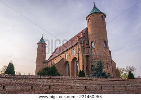 Exterior view of St John the Baptist church in Brochow village, Poland