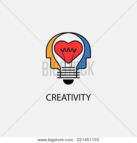 Creative light bulb,Heart icon and Human heads vector design banner template.Corporate business and industrial creative logotype symbol.Brainstorming and teamwork concept.Vector flat design illustration
