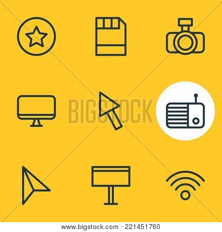 illustration of 9 media icons line style. Editable set of star, fm, camera and other elements.