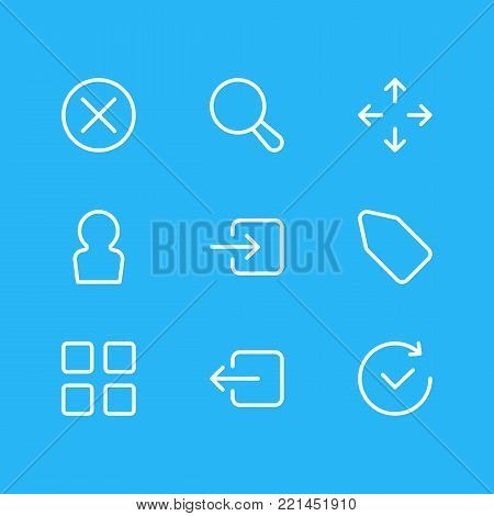 illustration of 9 annex icons line style. Editable set of user, cube, exit and other elements.