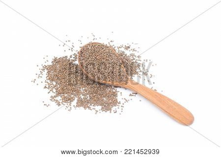 Perilla on wooden spoon isolated on white background, Scientific name Perilla frutescens (L.) Britton, perilla seeds have omega-3 and other medicinal properties