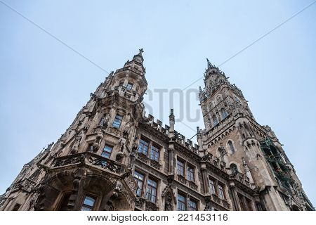 Munich new city hall (Neues Rathaus) taken during a cold winter afternoon. Neues Rathaus is a town hall at the northern part of Marienplatz in Munich, Bavaria, Germany