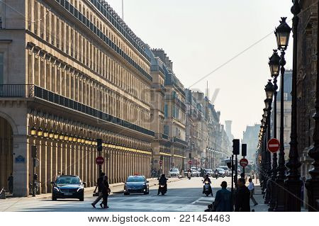 Streets of Paris, France. Sunny sky, buildings and traffic. Shot in october daylight. France, Paris, October, 03, 2014.
