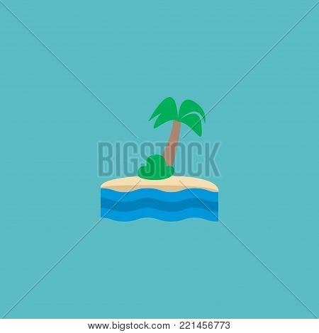 Island icon flat element. Vector illustration of island icon flat isolated on clean background for your web mobile app logo design.