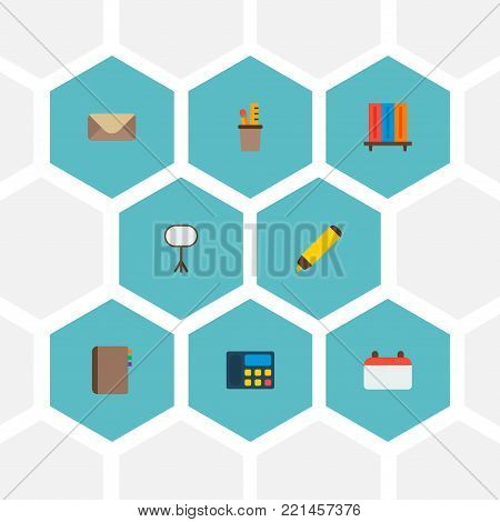 Set of bureau icons flat style symbols with calendar, telephone, bookshelf and other icons for your web mobile app logo design.