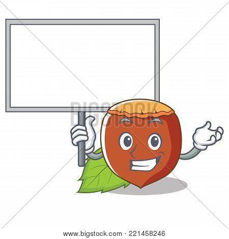 Bring board hazelnut character cartoon style vector illustration