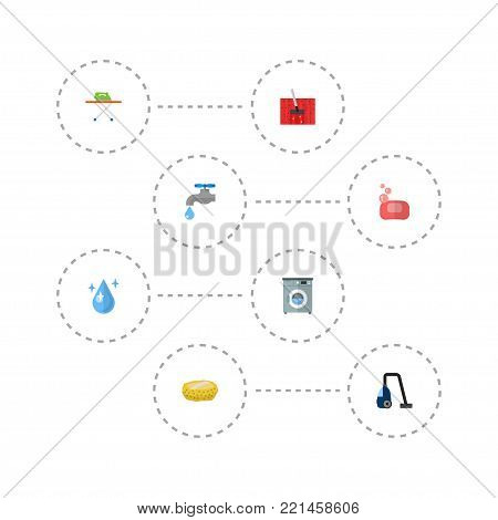 Icons flat style wisp, washing machine, tap water and other  elements. Set of cleaning icons flat style symbols also includes water, housekeeping, bast objects.