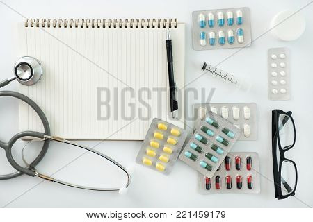 Good health  Medical equipment isolated on white medicine instruments concept