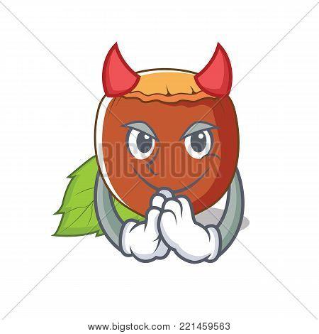 Devil hazelnut mascot cartoon style vector illustration