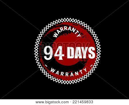 94 days warranty icon vintage rubber stamp guarantee