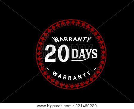 20 days warranty icon vintage rubber stamp guarantee