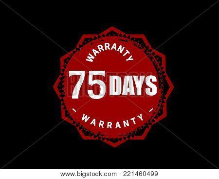 75 days warranty icon vintage rubber stamp guarantee