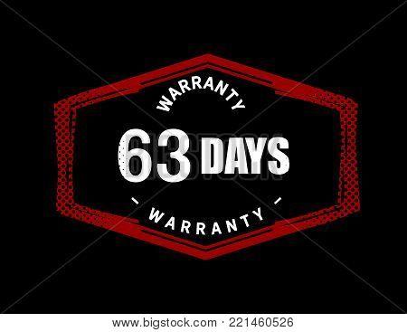 63 days warranty icon vintage rubber stamp guarantee