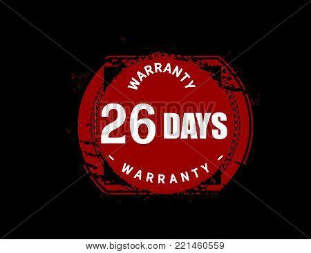 26 days warranty icon vintage rubber stamp guarantee