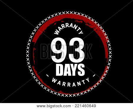 93 days warranty icon vintage rubber stamp guarantee