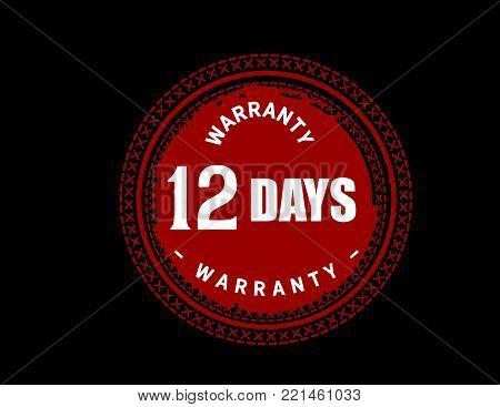 12 days warranty icon vintage rubber stamp guarantee