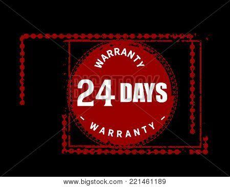 24 days warranty icon vintage rubber stamp guarantee