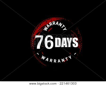 76 days warranty icon vintage rubber stamp guarantee
