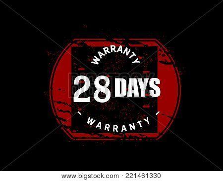 28 days warranty icon vintage rubber stamp guarantee